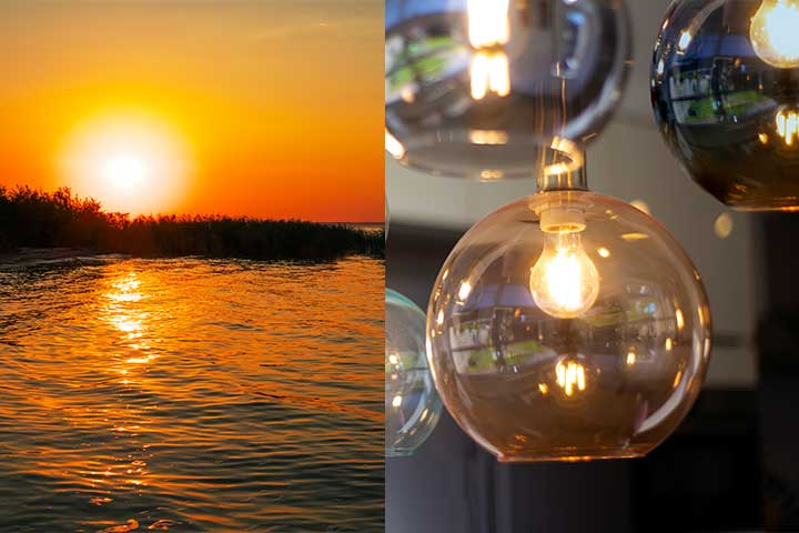Sun landscape and warm colored light  bulb