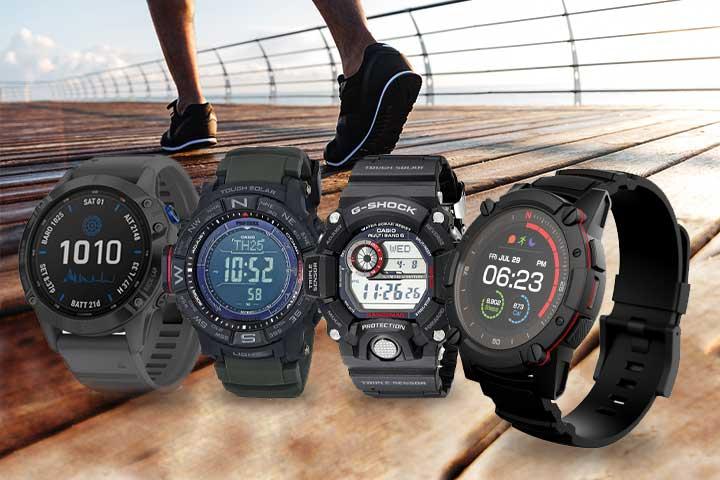 Garmin Fenix 6 Pro Solar, Casio Men's Pro Trek Watch, Casio G-Shock Rangeman, and Matrix Power Watch 2