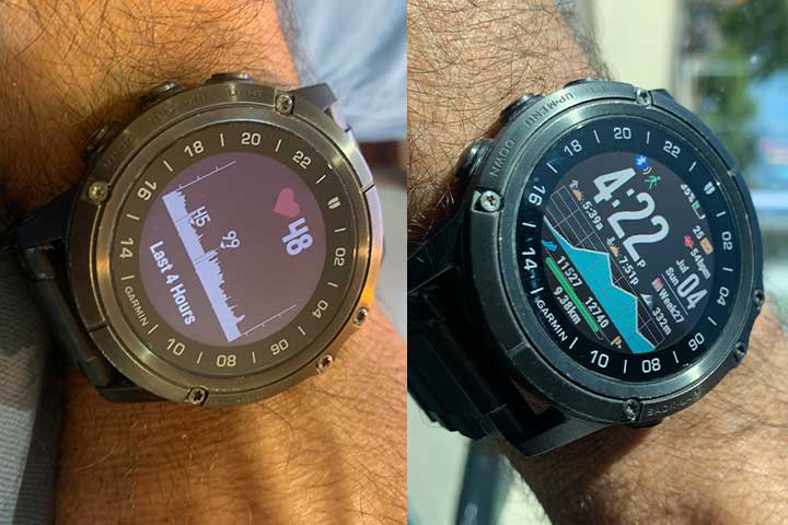 Garmin smartwatch with heart rate monitoring on screen display