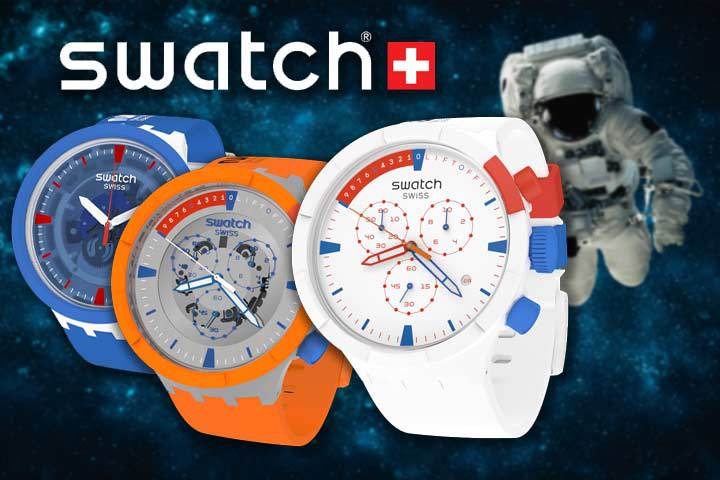 Swatch Big Bold Chrono Space Collection: Extravehicular (white), Launch (orange) and Jumpsuit (blue) with Swatch logo and astronaut in outer space as background