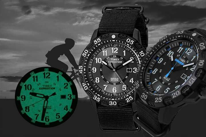 great for late evening activities: Timex Expedition Gallatin with man biking as background