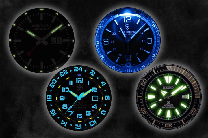 lume watches: Mondaine Night Vision Watch, Victorinox Swiss Army Night Vision Watch, Luminox F-117 Nighthawk 6400 Series and Seiko SRPB55 Black Ion Watch with black background