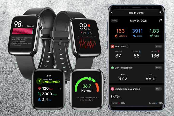 health and fitness tracker apps of TicWatch GTH with grey background