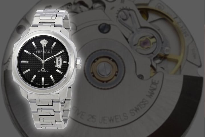 Versace Dylos Automatic with the Swiss-made ETA 2842-2 quartz mechanism in the background