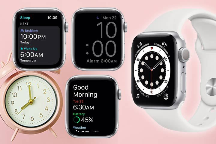 Apple Watch Series 6 with alarm background