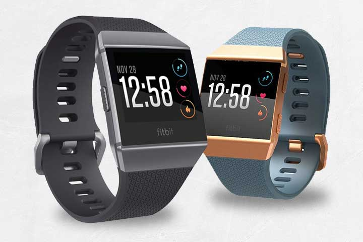 black fitbit ionic and gold and turquoise fitbit ionice