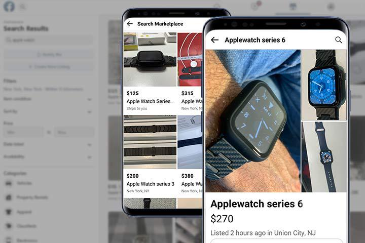 refurbished Apple Watch Series 6 on phone app with Facebook Marketplace background
