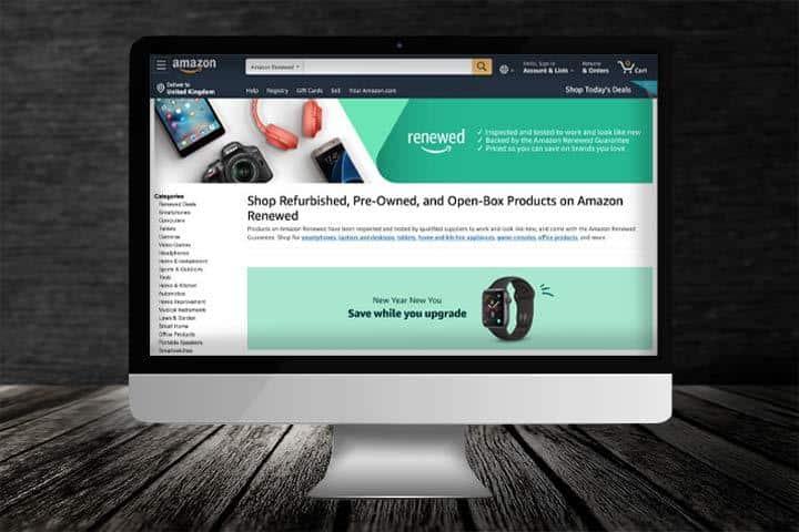 Amazon Renewed on laptop monitor with black background