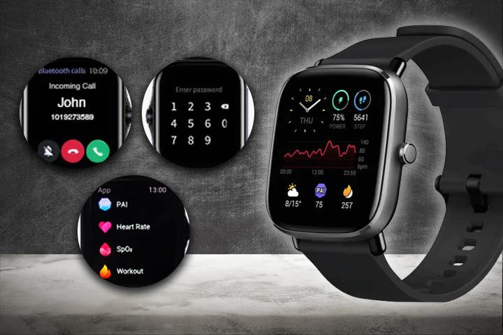 smartwatch features from Amazfit GTS 2 with gray background