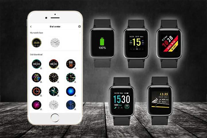 different clock face designs of Yamay Smartwatch with black background