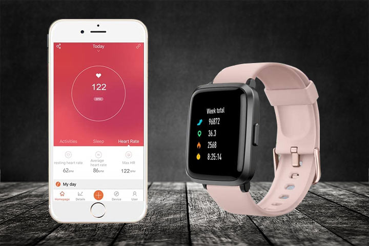 Android and iPhone compatible Yamay Smartwatch with black background