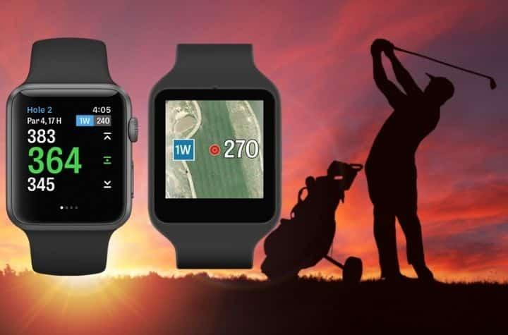 Apple Watch golf apps displayed over evening golfer