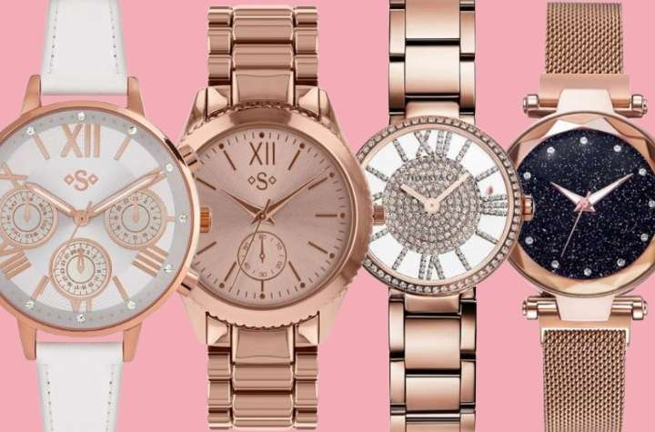 4 different styles of ladies rose gold watches on pink background
