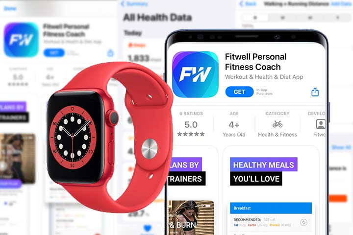 Red apple watch 6 with fitwell personal coach app screenshot