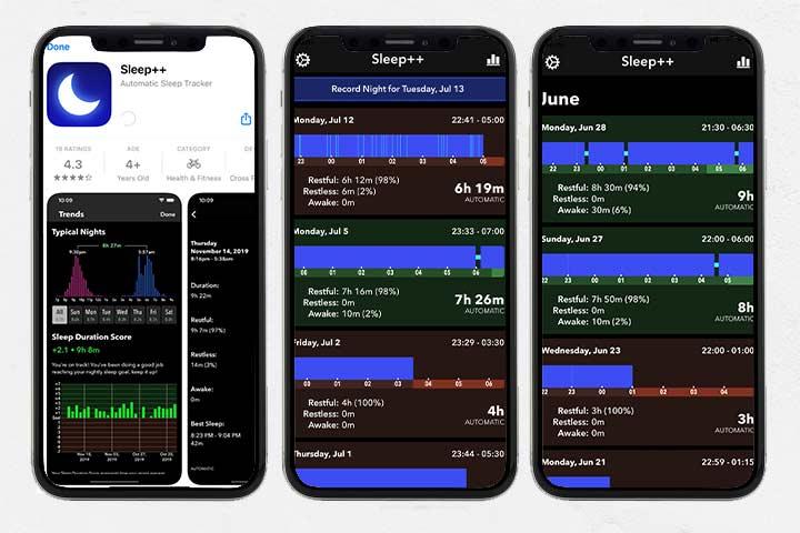 Sleep++ apple app  screenshots
