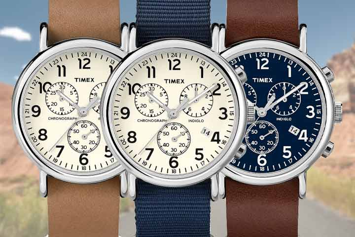 Timex Weekender Chronograph close up shot