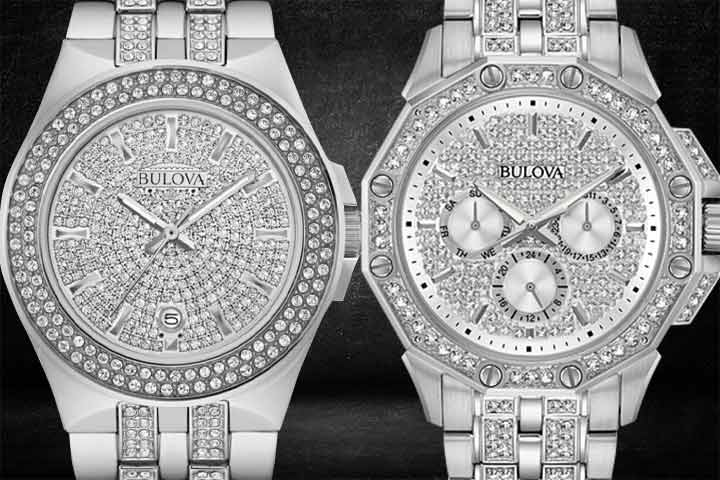 Bulova Octava Silver Diamond Stainless Steel Crystal Watch