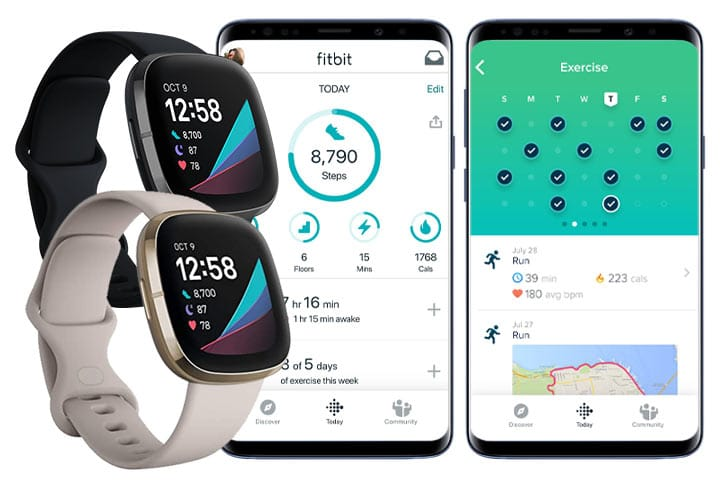 Fitbit Sense black and white with app screenshots