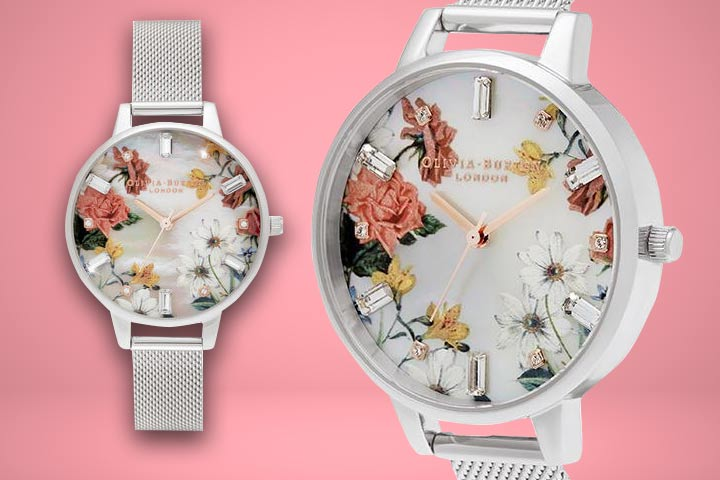 Demi Bouquet Print Mother of Pearl Dial close up shot