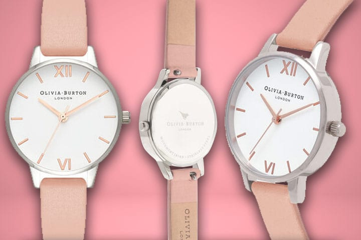 White Dial Dusty Pink & Gold Watch close up shot