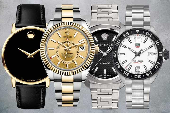 Movado Museum Classic, Rolex Sky-Dweller Champagne, Versace Dylos Automatic ,Tag Heuer Formula 1
