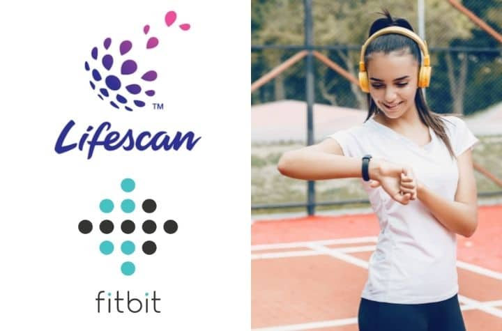 fitbit partners with lifescan - girl checking smartwatch