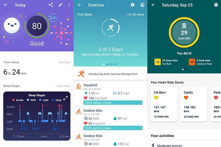fitbit app screenshots for activities