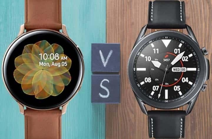 Samsung Galaxy Active 2 vs Samsung Galaxy Watch 3 on wood background