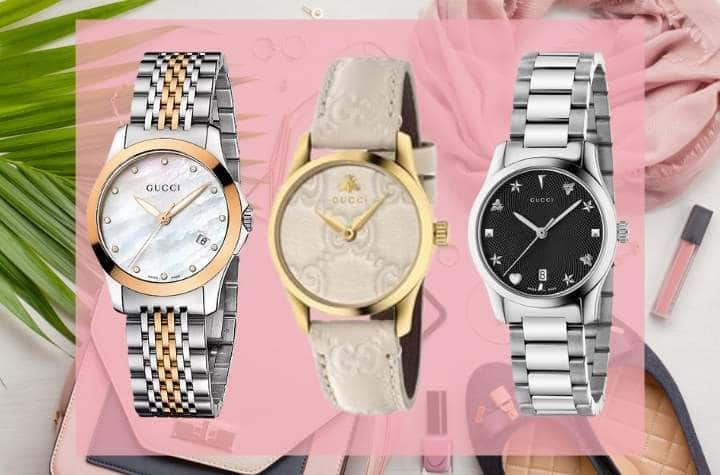 Gucci Womens Watches on Pink Background