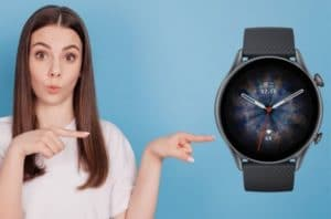 woman pointing at new Amazfit GTR 3 Pro